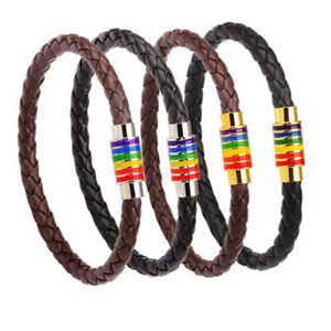 Titanium-Steel-Magnet-Rainbow-Flag-Pride-Charm-gay-Leather-Bracelet