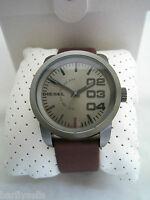 Diesel Watch Double Down Dz1467 Black Stainless Steel Brown Leather Bnib