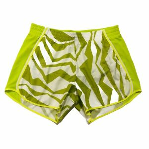NIKE-Dri-Fit-Womens-Tempo-Running-Shorts-Lined-Green-White-Size-Small-EUC