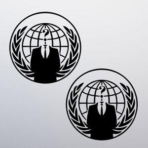 Details about x2 Anonymous Sticker Vinyl Decal Car Bike Van Mask Illuminati  Hacker Occupy NWO