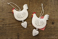 CREAM HEN AND HEART HANGING ~ COUNTRY CHIC ~ CHICKEN LOVER ~ EASTER ~ METAL TAG