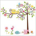 Owl Scroll Tree Wall Art Decal Removable Vinyl Nursery Stickers Kids Baby Decor