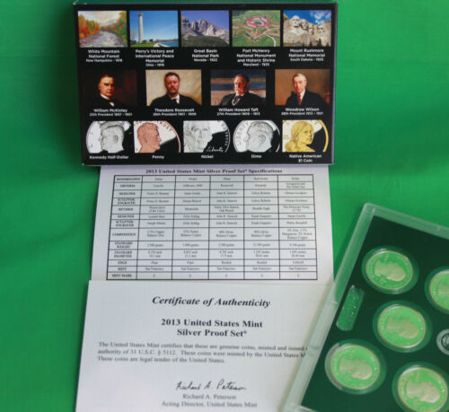 2013 S United States Mint Annual SILVER 14 Coin Proof Set Original Box and COA