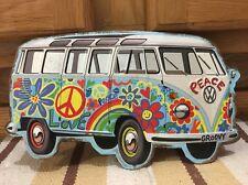 VOLKSWAGEN BUS Metal Hippy Peace Beetle Big VW Plaque Classic Van Groovy Love
