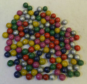 #12140m Vintage Group or Bulk Lot of Tiny Dyed Clay Marbles .37 to .43 Inches