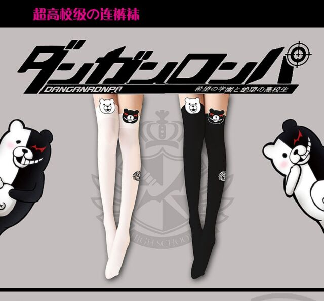 Ladies Cute Anime Dangan Ronpa Mono Kuma Bear Pattern Pantyhose Tights Stocking