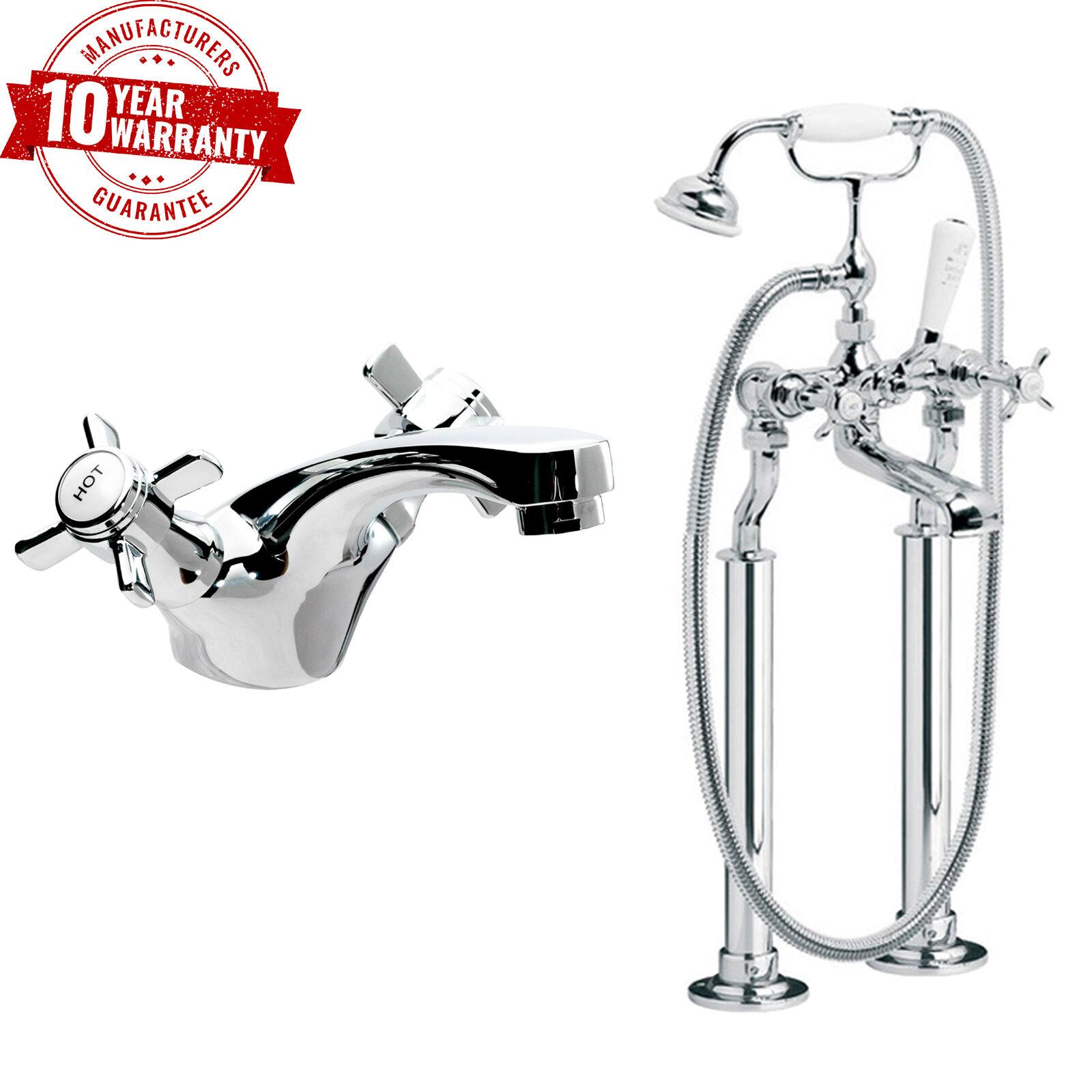 Traditional baignoir bain douche mélangeur & bassin robinet cross poignée manivelle jambes