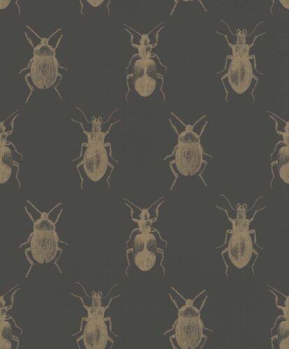 7,82£//1qm Wallpaper Insects Bugs black gold Metallic Rasch Textil 289519