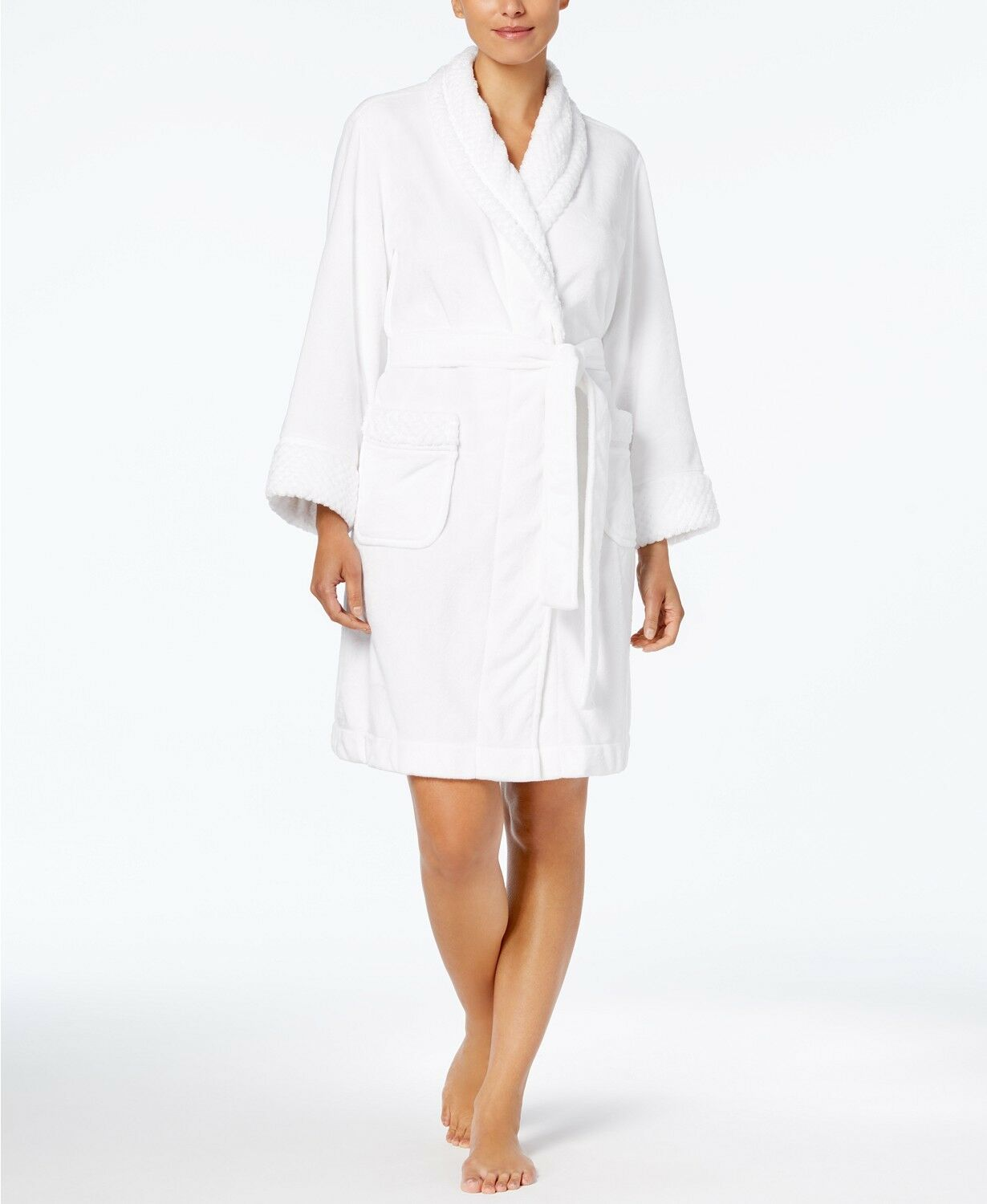 Charter Club Short Dimple Contrast Robe 171179M716 Size L Bright White