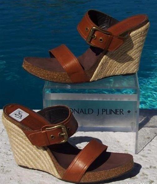 Donald Pliner Couture Größe Leder Hemp Wedge Schuhe New Größe Couture 11.5 Rubber Sole 275 NIB e0278a
