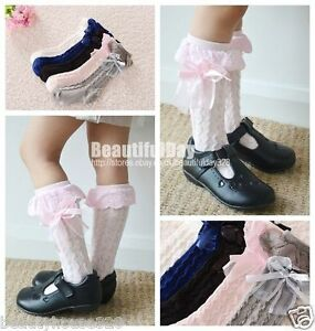 Baby-Girl-Children-Kids-Knee-High-Lace-Frill-Socks-School-Wedding-Christening