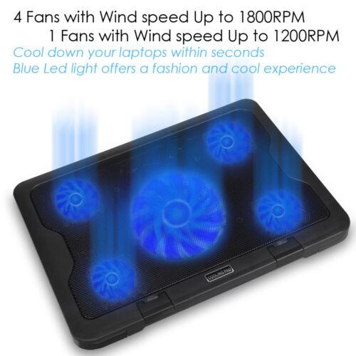 5 Fans LED USB Port Cooling Stand Pad Cooler For 10/'/'-17/'/' Laptop Macbook Acer