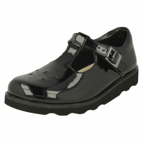 niñas T bar Wish Negro Zapatos Clarks para Crown zgwqqx