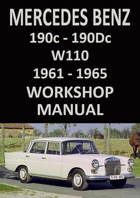 MERCEDES BENZ WORKSHOP MANUAL W110 /& W111 1959-1965