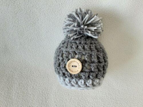 hand crochet newborn chunky pompom hat