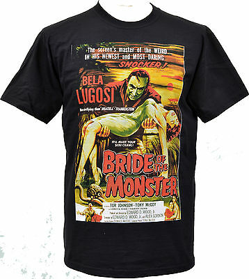 MENS BLACK T-SHIRT BMOVIE BRIDE OF THE MONSTER  BELA LUGOSI HORROR VAMPIRE S-5XL