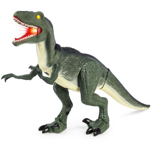 Green BCP 21in Kids Walking Velociraptor Dinosaur Toy w// Lights Sounds