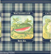 RALPH LAUREN Vegetables Seeds Pack Packets Blue Plaid Check Wall paper Border