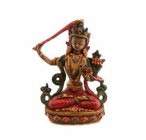 Soprammobile Tibetano Da La Manjushree Divinità IN di Resina Budda 20cm 9379