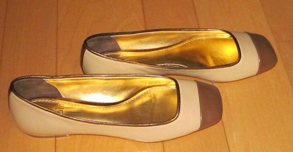 New Linea Paolo Wms Tan/marrone/Gold Flats 7 *Cute Must C