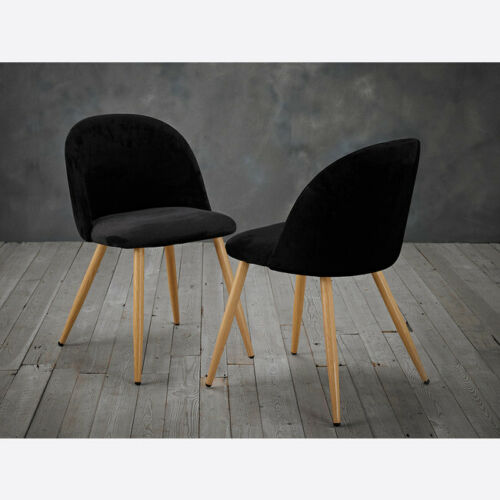 PAIR OF 2 BLACK QUILTED VELVET DINING CHAIRS WITH WOODEN LEGS