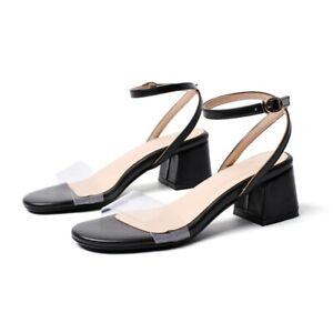 Womens Clear Transparent Mid Block Heel