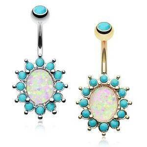 Opal Turquoise Belly Button Ring