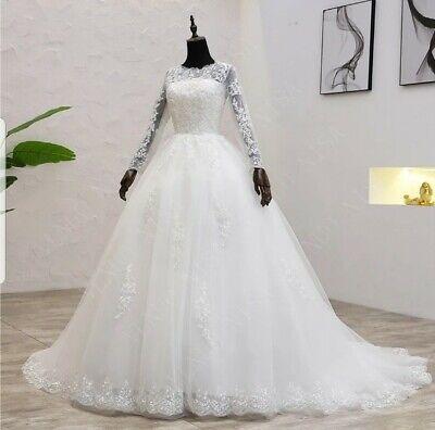 Uk Plus Size Light Ivory Long Sleeve Lace A Line Modest Wedding Dress Size 6 22 Ebay