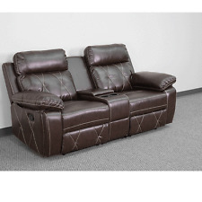 Reel Brown Leather Home Theater 2-Seat Recliner Unit with Straight Cup Holders