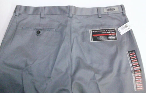 Roundtree /& Yorke Travel Smart Easy Flat Expander Twill Khaki Dress Pants 46 NWT