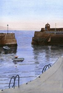034-Saundersfoot-Harbour-034-FRIDGE-MAGNET-A-Print-Watercolour-Painting-by-Annie-Hill