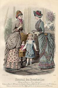 """122/ Gravure De Mode """" Journal Des Demoiselles """" 1883 Superbes Couleurs !"""