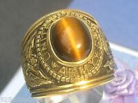 12x10 Mm United States Army Military Semi-precious Tiger Eye Stone Men Ring 11