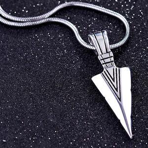 Edelstahl-Halskette-mit-Anhaenger-Pfeilspitze-Spitze-Kette-Biker-Silber-Gut