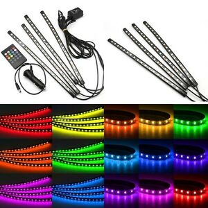 12V 18 LED RGB 4 Strip Car Interior Decoration Wireless Music Control LED Lights