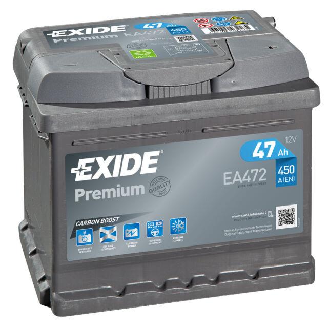 Exide Autobatterie 47AH 12V Premium Carbon Boost EA472 Neues Modell statt 44Ah