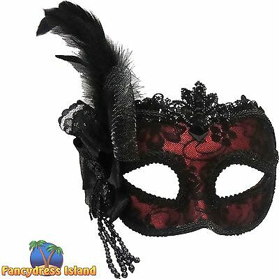 MASQUERADE RED EYE MASK SIDE FEATHER Womens Fancy Dress Costume Accessory