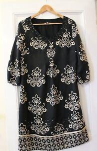 PER-UNA-Shift-Dress-Black-Ivory-Sequin-Detail-UK-12-Party