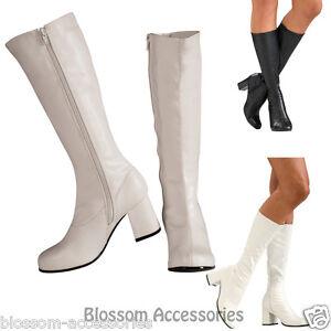 S37-White-Black-Go-Go-Knee-High-Ladies-Gogo-Boots-1960s-70s-Disco-Costume-Shoes