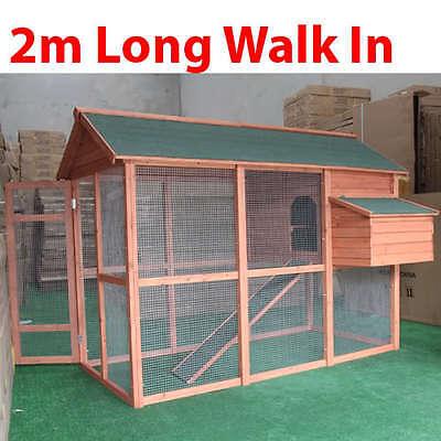 Walk-in Wood Chicken Coop with Mesh Floor Hen Chook Hutch Cage Playhouse