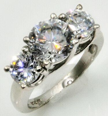 1 ct Three Stone Arch Ring Russian Quality CZ Imitation Moissanite Simulant Sz 8