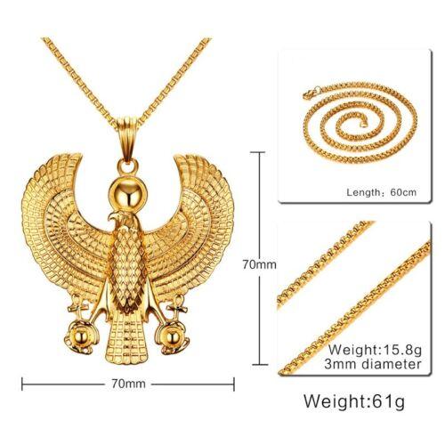 Horus OISEAU FAUCON OR PLAQUE Pendentif Hommes Collier égyptien Motard Cadeau Bijoux
