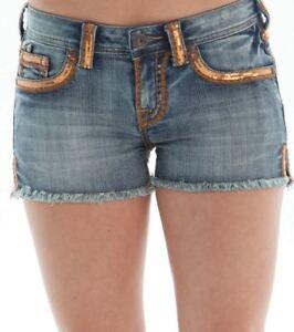 risvolto Pantaloncini denim Pantaloncini jeans di di in con di Nwt in oro cowgirl 27 Tuff leggeri vita lavati polvere g4q67ng