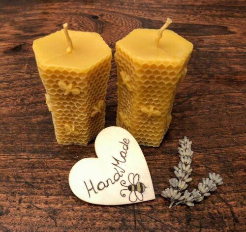 PILLAR HEXAGONAL BEESWAX NATURAL HANDMADE CANDLES Set of 2
