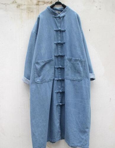 Chemise boutonnées Manteaux chinoise hommes vestes femmes pour Robe Longs en pour Trench rétro vrac TrWqSwTP