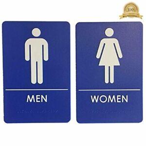 Men S And Women S Restroom Signs Ada Compliant Bathroom Door Signs Blue Ebay
