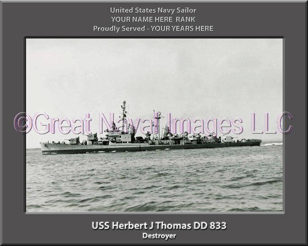 USS Herbert J Thomas DD 833 Personalized Canvas Ship Photo Print Navy Veteran