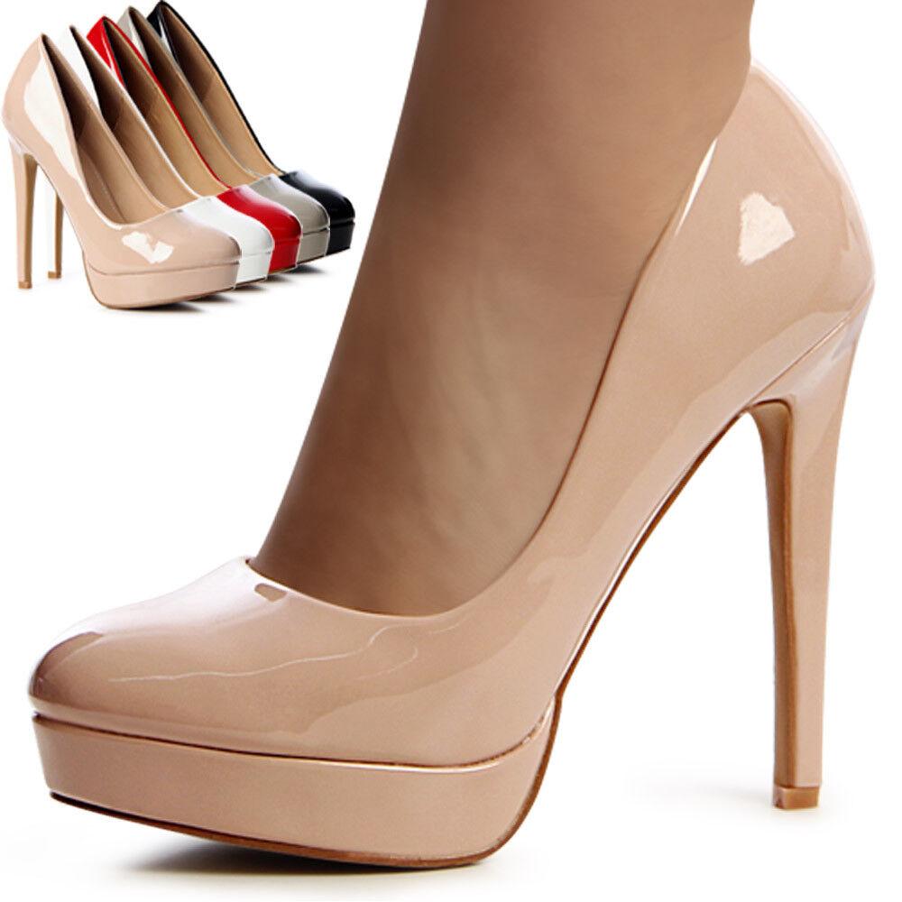 Mujer Plataforma De Charol Zapatos de tacón tacones de Aguja Blogger Estilo Boda
