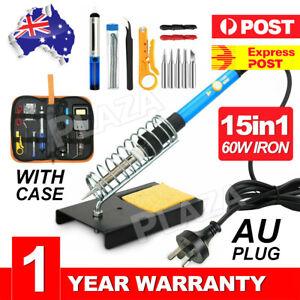15IN1 Soldering Iron Kit 60W Electronics Welding Tool Adjustable Temperature AU