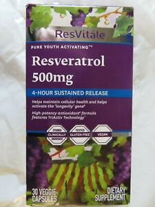 Resvitale Resveratrol 500mg 30 Veggie Capsules Exp10 20